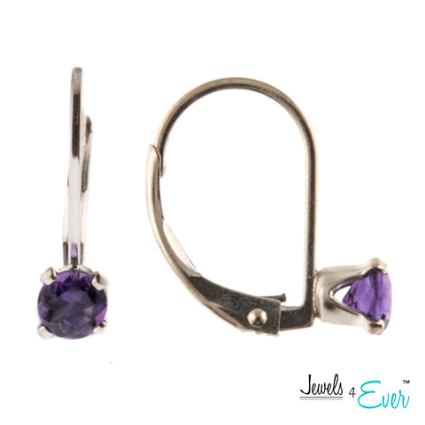 Jewels 4 Ever's Genuine 4mm Amethyst  925 Sterling Silver Earrings