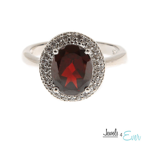 Sterling Silver Ring set with 10 x 8 mm genuine Garnet and Cubic zirconia