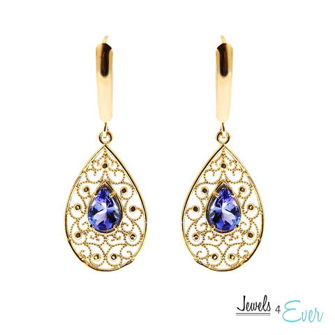 10K Gold genuine Tanzanite Filigree Earrings