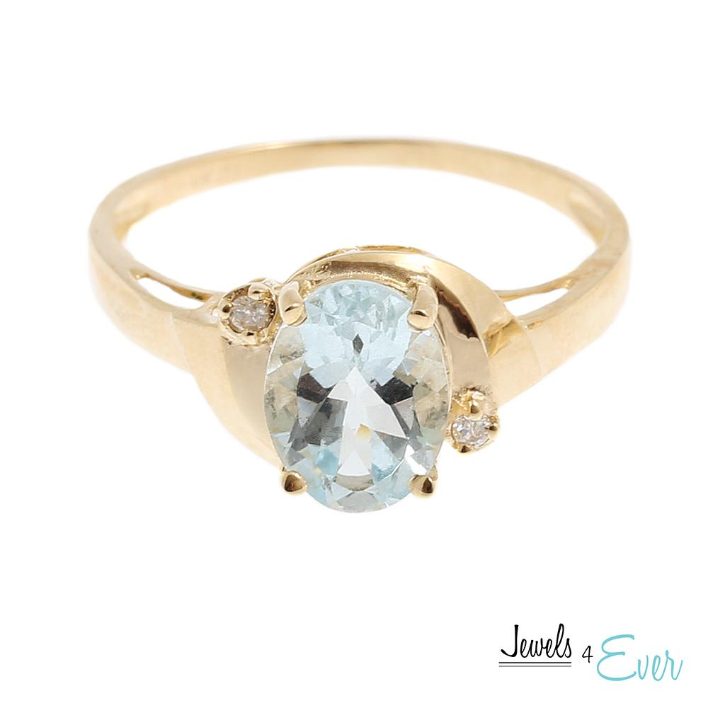 10K Gold Ring set with 8 x 6 mm genuine Aquamarine and Diamond