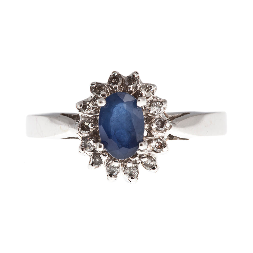 14K White Gold Lady Di Style Ring set with Genuine Gemstone and Diamond