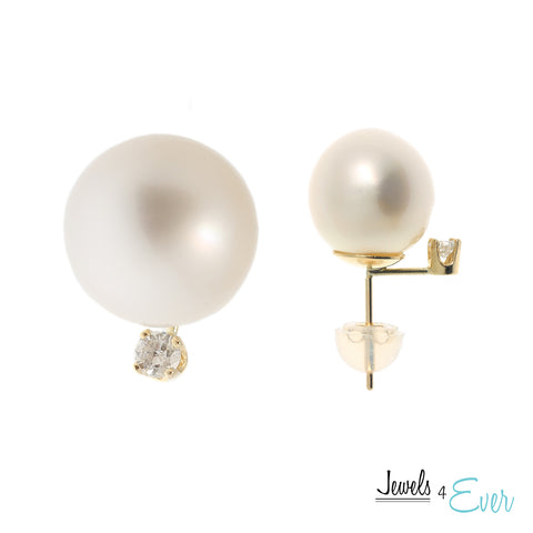 14kt Gold South Sea Pearl and Diamond Earrings