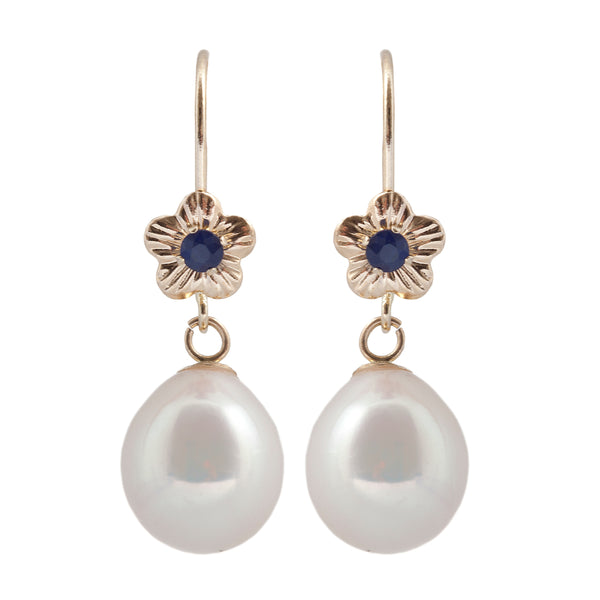 14 Karat Yellow and White Gold Lever-back Earrings with Genuine Gemstones and Fresh Water Pearl