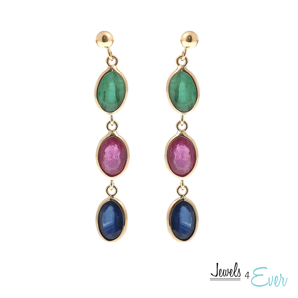 14K Yellow Gold Earrings set with 7 x 5 mm genuine Ruby, Sapphire and Emerald