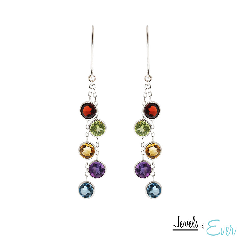 14K White Gold Earrings set with 5 mm genuine Gemstones