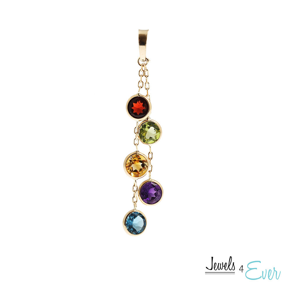 14K Yellow Gold Pendant set with 5 mm genuine Gemstones