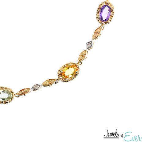 10K Yellow Gold Bracelet set with 5 x 3 mm genuine Coloured Sapphire and Diamond