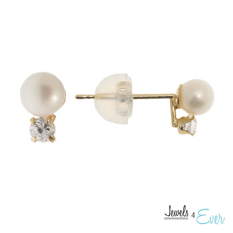 14kt Yellow Gold 4 mm Cultured Pearl and Cubic zirconia Earrings
