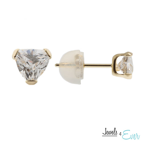14kt Yellow Gold 4 mm Cubic zirconia stud Earrings
