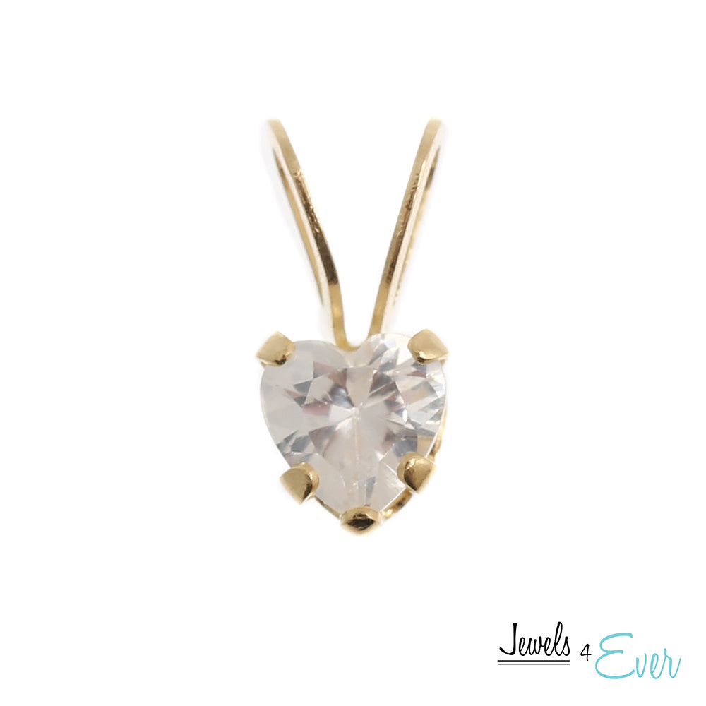14K Yellow Gold Heart Pendant set with 4 mm genuine Cubic zirconia