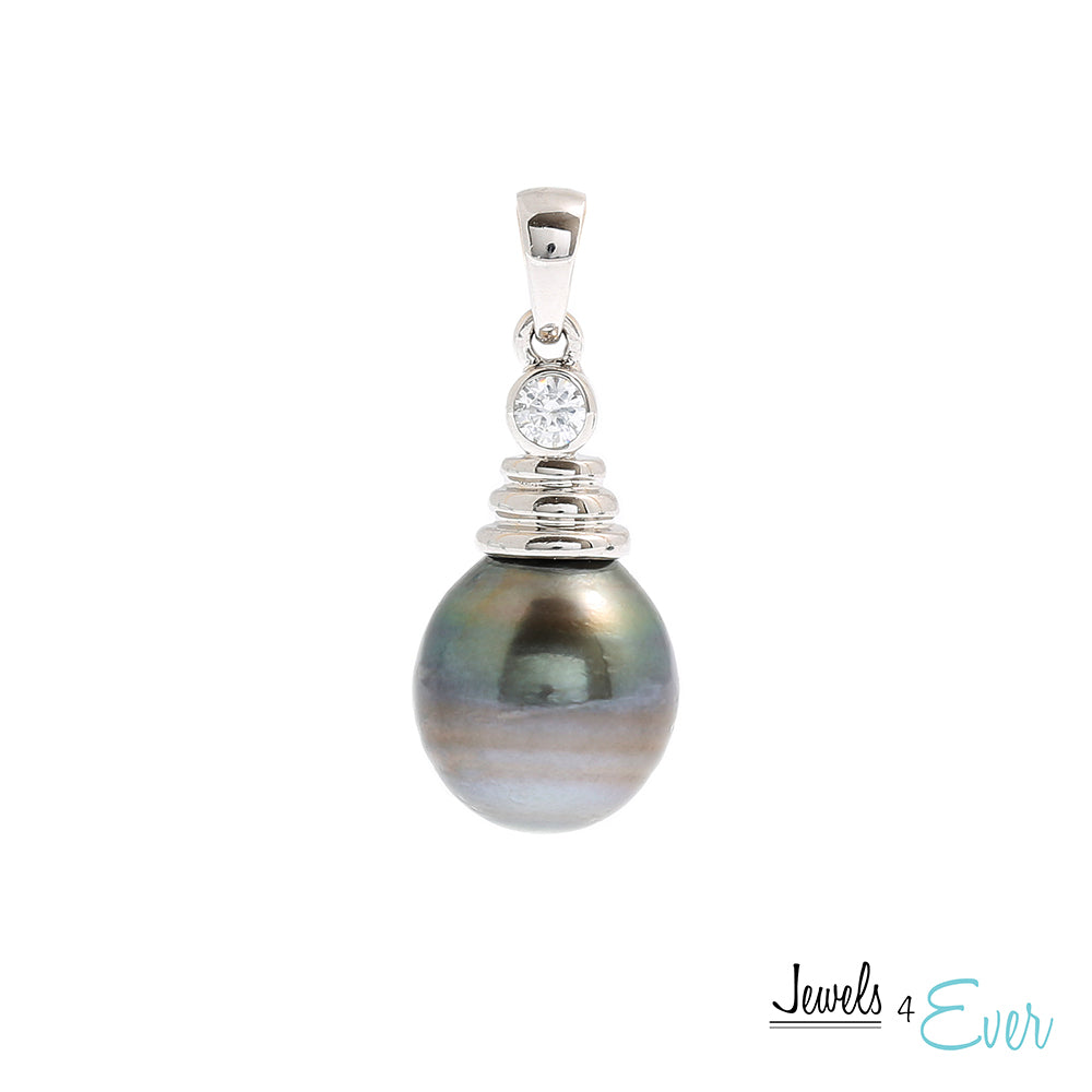 Sterling Silver genuine South Sea Pearl and Cubic zirconia Pendant