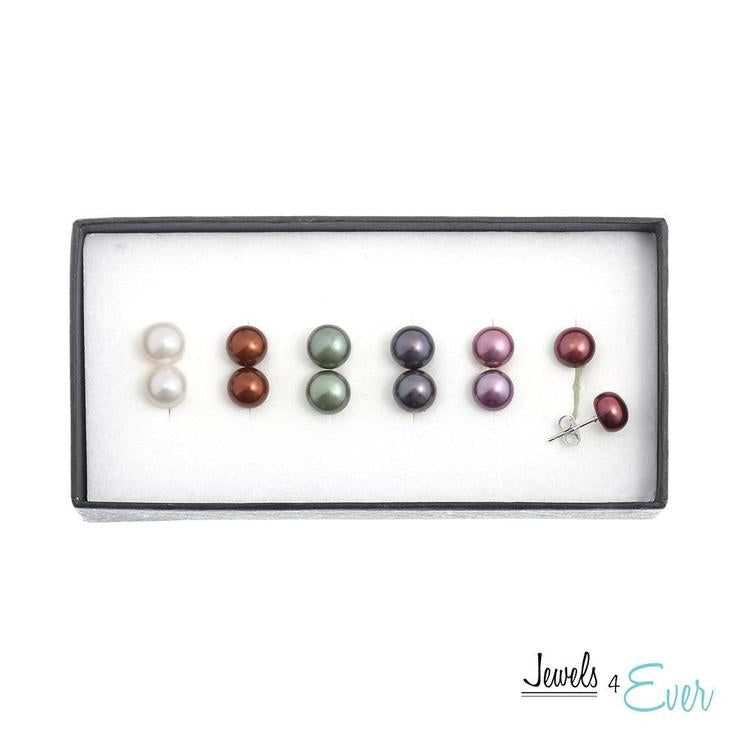 925 Sterling Silver Coloured Freshwater Pearl Earrings