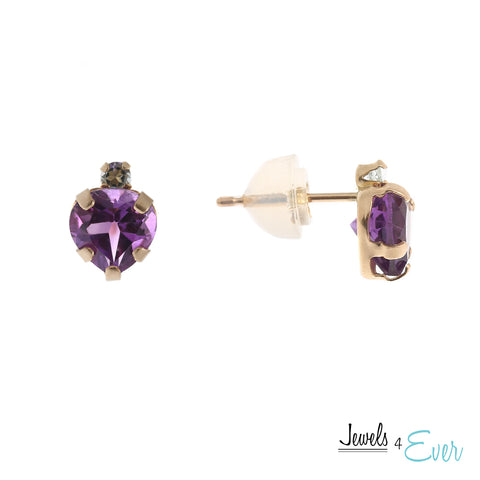 10K Gold genuine Amethyst Stud Earrings