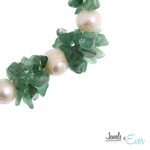 Genuine White Freshwater Pearl and Green Aventurine Bracelet