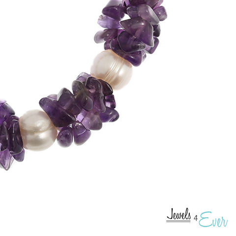 Genuine White Freshwater Pearl and Amethyst Bracelet