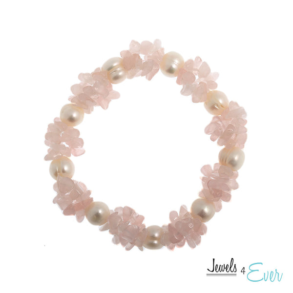 Genuine White Freshwater Pearl and Rose Quartz Bracelet
