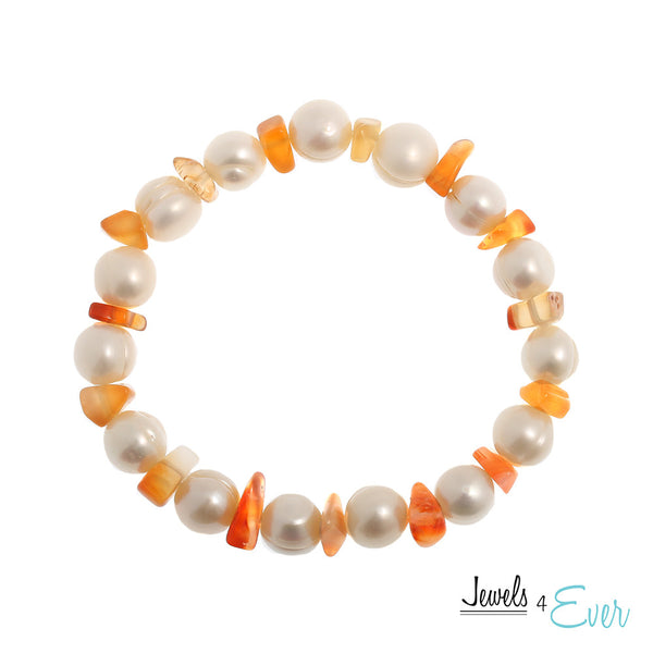 Genuine White Freshwater Pearl and Carnelian Bracelet