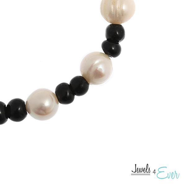 Genuine White Freshwater Pearl and Black Obsidian Bracelet