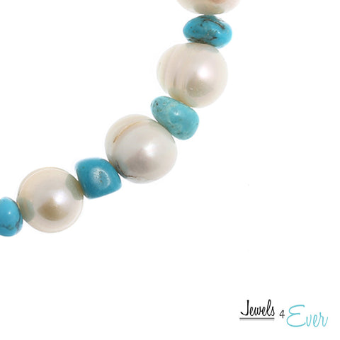 Genuine White Freshwater Pearl and Turquoise Bracelet
