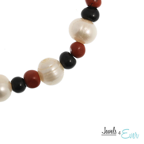 Genuine White Freshwater Pearl, Black Obsidian and Red Jasper Bracelet
