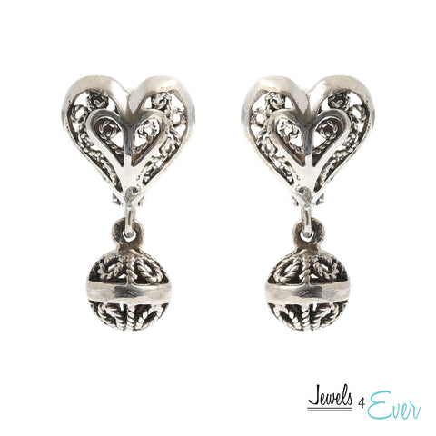 Sterling Silver Vintage Filigree Heart Earrings