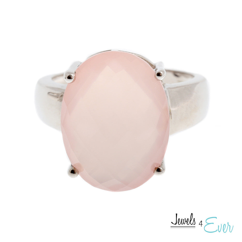 Sterling Silver Ring set with Rose Quartz