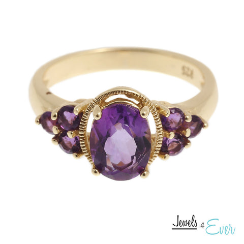 Gold plated Sterling Silver Ring set with genuine Amethyst