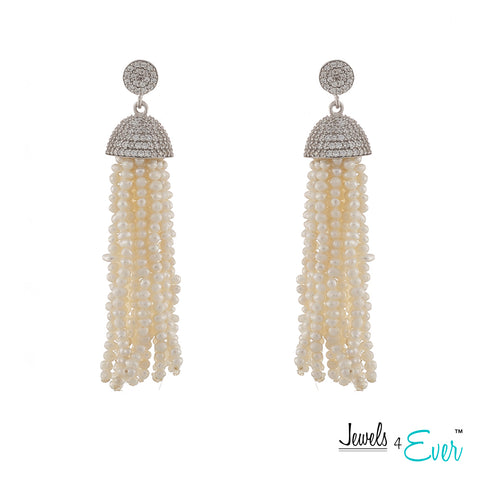 Jewels 4 Ever's Genuine Fresh Water Pearl Tassel Sterling Silver Earrings