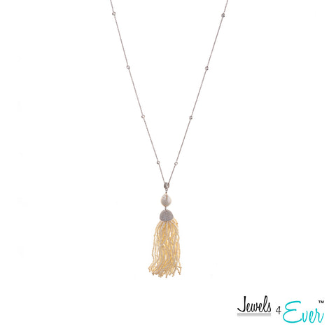 Jewels 4 Ever's Genuine Fresh Water Pearl Tassel Sterling Silver Necklace