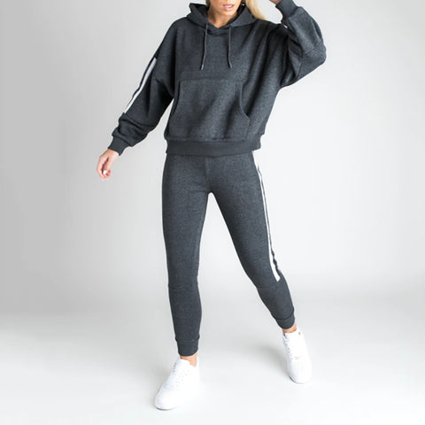 Women's casual hooded striped sports set