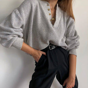 Fashion button sweatshirt stand collar gray loose sweater