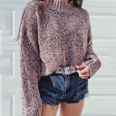 Casual loose collar long sleeve knit sweater