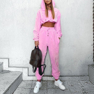 Casual solid color hooded two-piece suit