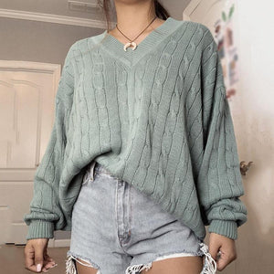 Women's Fashion Batwing Sleeve V-neck Sweater