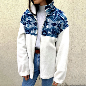 Casual ladies zipper printed stitching long sleeve loose jacket