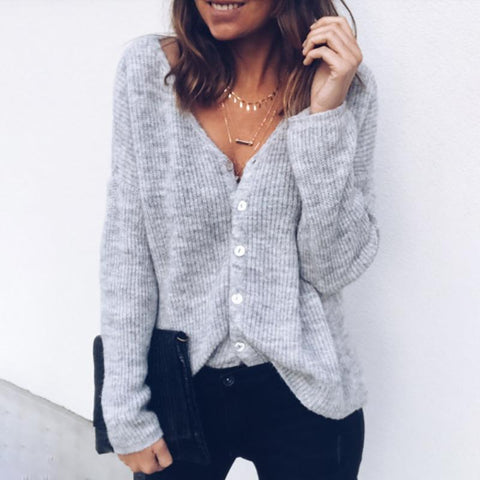 Solid Color Loose V-Neck Sweater