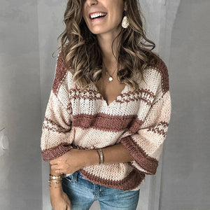 Casual V-neck Loose Striped Sweater
