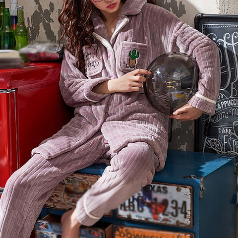 Winter leisure single-breasted thickened pajamas set