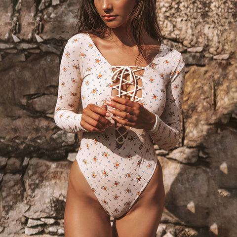 Swimsuit one-piece floral long-sleeved bikini