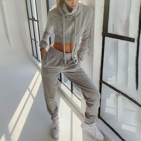 Hooded sports suit top + pants