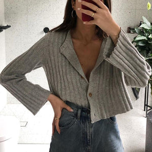 Simple Solid Long-Sleeved Short Knit Cardigan