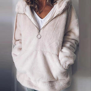 Womens Casual Solid Colour Loose Hooded Teddy Sweatshirt