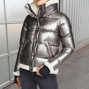 Women's fashion long-sleeved down jacket
