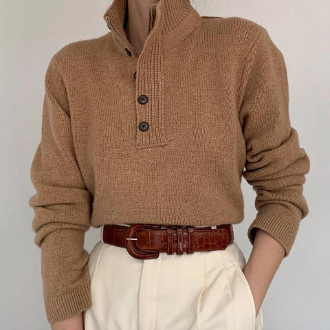 Fashion stand collar contrast color single-breasted sweater DWQ08