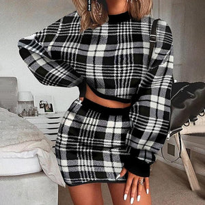 Women's fashion small fragrance plaid sweater set