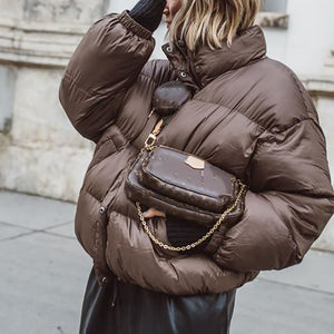 Ladies casual solid color down jacket
