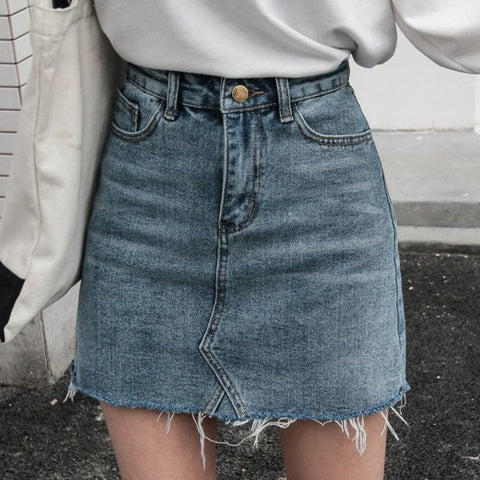 Women's high-waist bag skirt denim A-line skirt