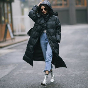 Fashion Simple Wild Hooded Long Down Jacket