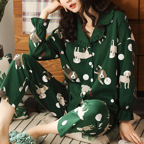 Women's Casual Comfortable Cotton Long Sleeve Home Wear Set