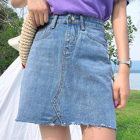Women's Casual High Waist Denim A-Line Skirt